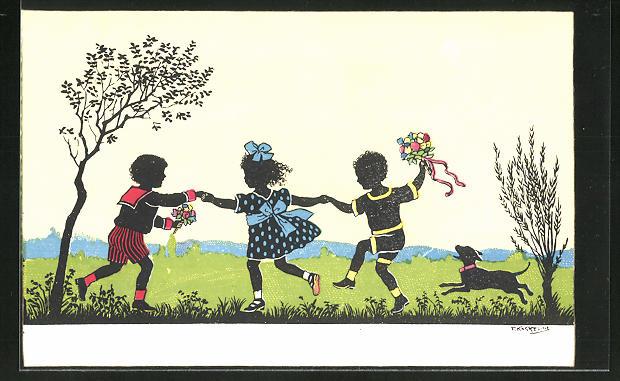 Künstler-AK Friedrich Kaskeline: Kinder mit Hut beim ausgelassenen Spiel