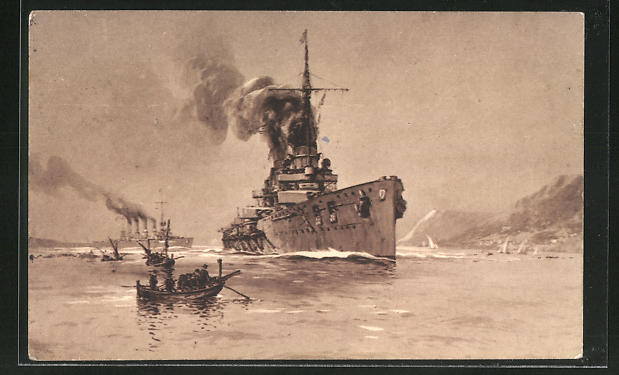 Künstler-AK Willy Stoewer: Kriegsschiffe
