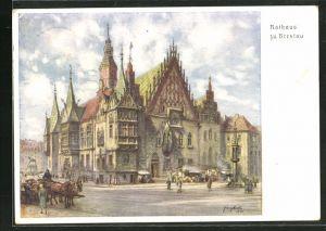AK Breslau, Partie am Rathaus, 12. Deutsches Sängerbundesfest