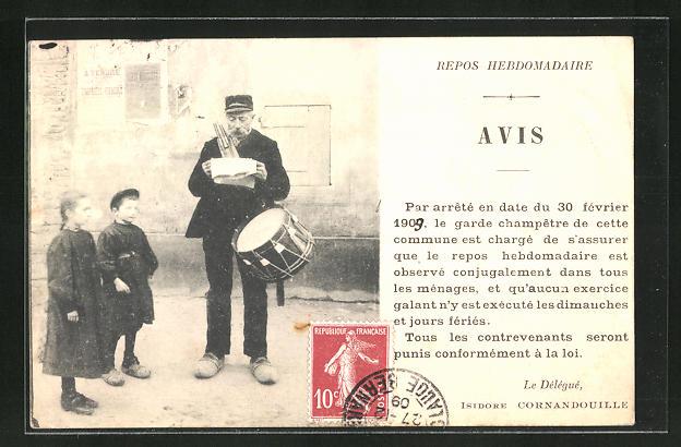 AK Ausrufer mit kleiner Trommel, daneben zwei Kinder
