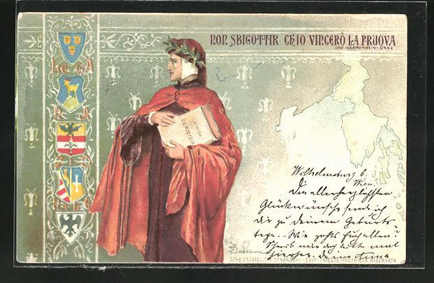 AK Dante Alighieri mit Lorbeerkranz und seiner Göttlichen Komödie