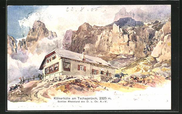 Künstler-AK Edward Theodore Compton: Kölnerhütte am Tschagerjoch