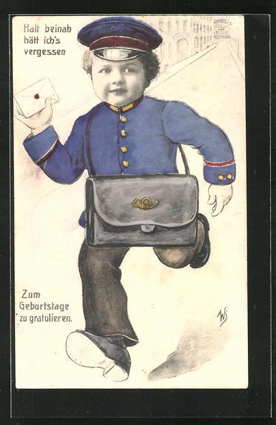 Künstler-AK Willi Scheuermann: Briefträger mit Geburtstagsglückwünschen