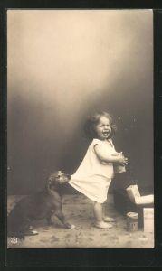 AK Dackel zieht ein Kind am Rockzipfel, Nestle's Mehl