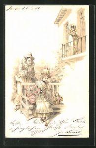 AK Harlekin flirtet mit einer Dame, Frau des Harlekin auf dem Balkon
