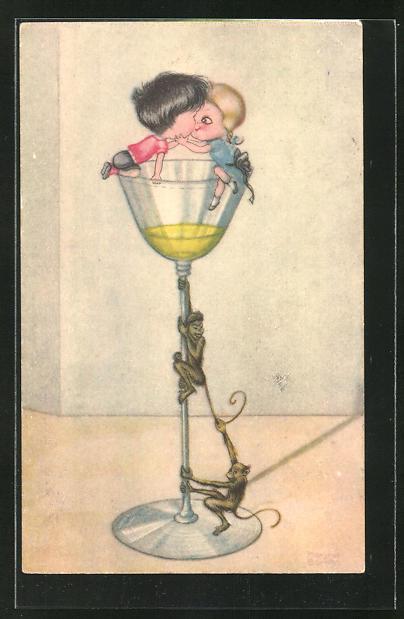 Künstler-AK Margret Boriss: Kleines Paar und Affen auf einem Sektglas