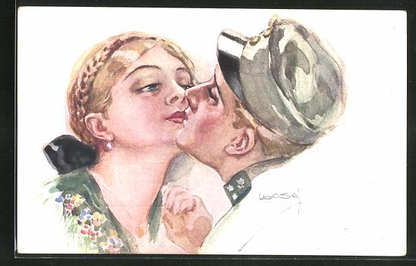 Künstler-AK Luis Usabal: Soldat in Uniform küsst junge Frau