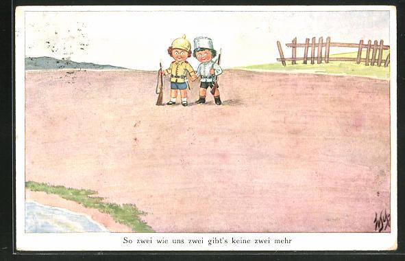 Künstler-AK Willi Scheuermann: Zwei kleine Männchen mit Gewehren halten Hände