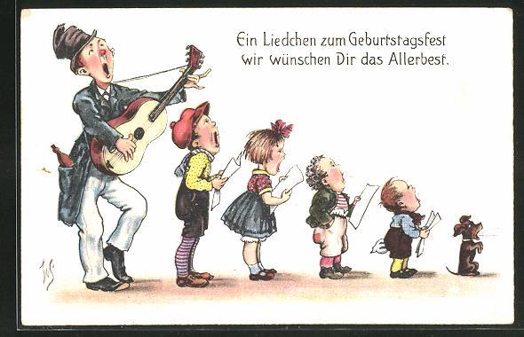 Künstler-AK Willi Scheuermann: Ein Liedchen zum Geburtstagsfest, Sängergruppe von gross nach klein