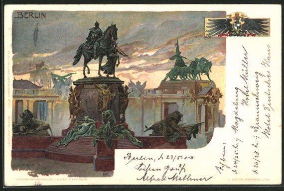 Künstler-AK Heinrich Kley: Berlin, Statuen am Brandenburger Tor