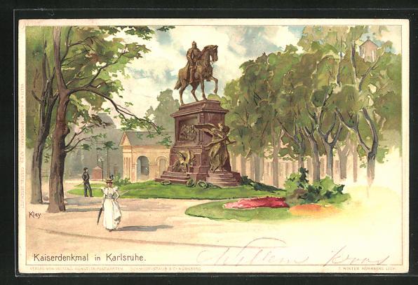 Künstler-AK Heinrich Kley: Kaiserdenkmal in Karlsruhe