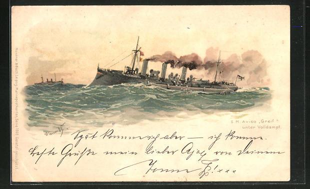 Künstler-AK Hans Bohrdt: Kriegsschiff S. M. Aviso