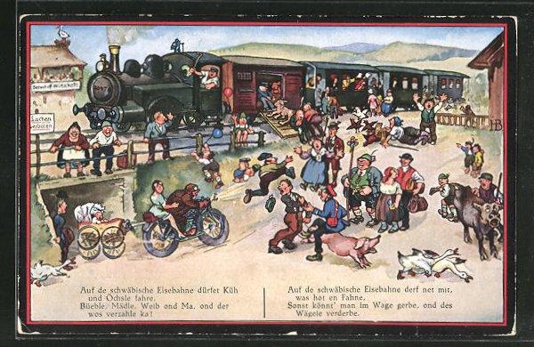 Künstler-AK Hans Boettcher: Auf der schwäbische Eisebahne, Trubel am Bahnhof