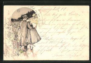 Künstler-AK Fritz Reiss: Mann geht Arm in Arm mit einer Frau in Schwarzwälder Tracht