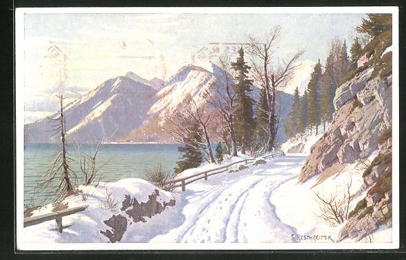 Künstler-AK Rudolf Reschreiter: Walchensee im Winter