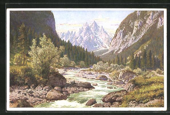 Künstler-AK Rudolf Reschreiter: Ramsau, Eingang ins Wimbachtal