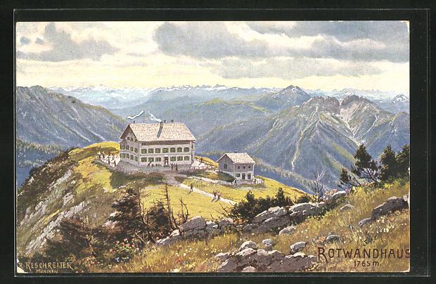 Künstler-AK Rudolf Reschreiter: Rotwandhaus mit Alpen-Panorama