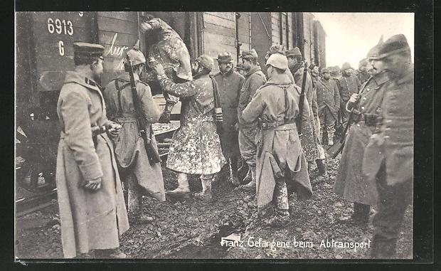AK Französische Kriegsgefangene beim Abtransport