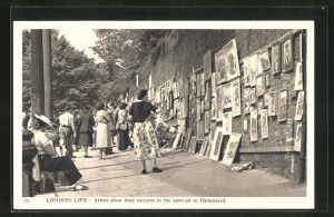 AK London, Artists show their pictures iin the open-air at Hampstead