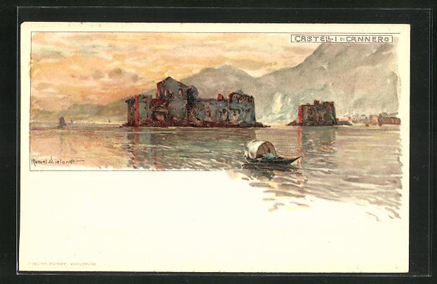 Künstler-AK Manuel Wielandt: Castelli di Cannero mit kleinem Ruderboot