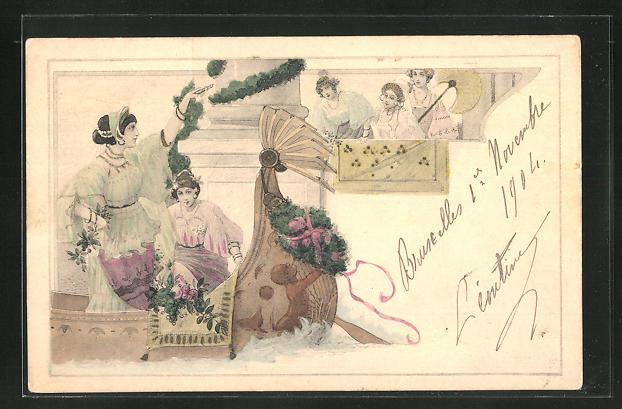 AK Jugendstil, Drei Frauen am Balkon schauen auf zwei Frauen im Boot