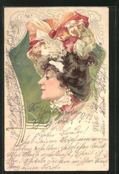 AK Elegante Dame mit Hut, Jugendstil
