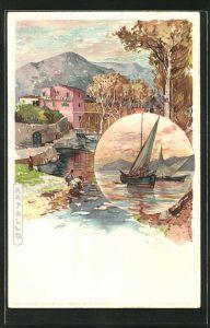 Künstler-AK Manuel Wielandt: Rapallo, Partie am Fluss, Fischerboote auf dem See