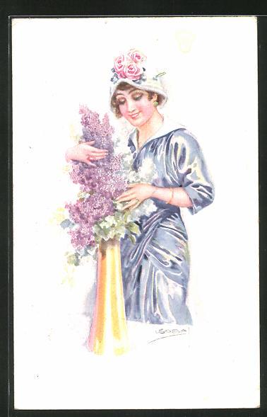 Künstler-AK Luis Usabal: Dame an einer Vase mit blühendem Flieder