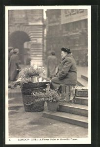 AK London, Flower Seller in Piccadilly Circus