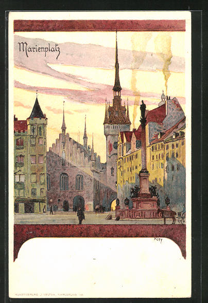 Künstler-AK Heinrich Kley: München, Blick über den Marienplatz