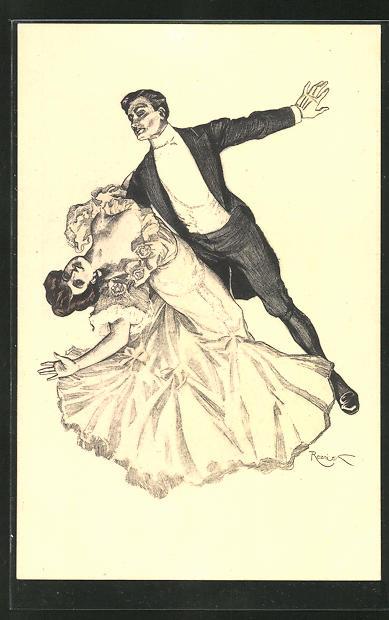 Künstler-AK Ferdinand von Reznicek: Simplicissiumus Nr.2: Paar beim Tanz