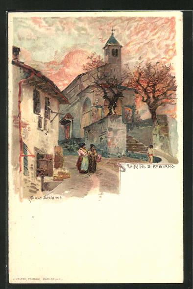 Künstler-AK Manuel Wielandt: Suna S. Fabiano, Strassenpartie an der Kirche