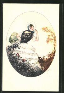Künstler-AK J. Hardy: junge Frau im Kleid mit Korb