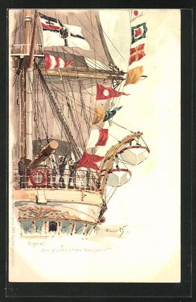 Künstler-AK Hans Bohrdt: Kriegsschiff mit Fahnen, Signal
