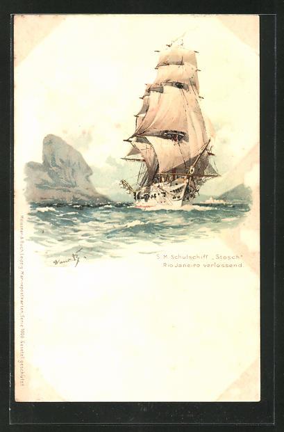 Künstler-AK Hans Bohrdt: S.M. Schulschiff