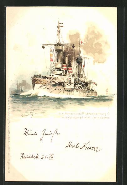 Künstler-AK Hans Bohrdt: S.M. Panzerschiff