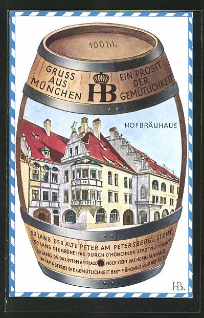 Künstler-AK Hans Boettcher: Münchner Hofbräuhaus in einem Bierfass