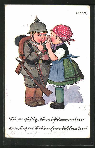 Künstler-AK P. O. Engelhard (P.O.E.): Mädchen & Kindersoldat mit erhobenen Zeigefinger
