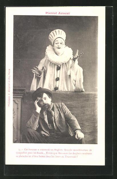 Ak Pierrot Avocat Harlekin Mann Mit Hut Nr 8410011 Oldthing