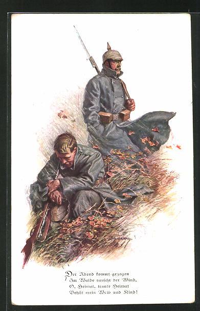 Künstler-AK Franz Kuderna: Soldaten in Uniform mit Pickelhaube