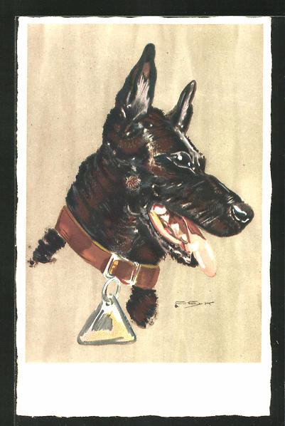 Künstler-AK Hilla Peyk: Hechelnder Schäferhund mit Halsband