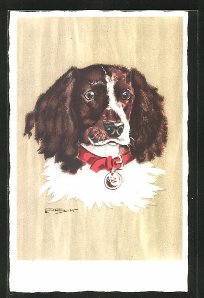 Künstler-AK Hilla Peyk: Jagdhund mit rotem Halsband