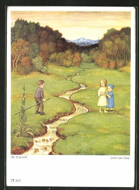 Künstler-AK Matthäus Schiestl: Kinder an einem Bach im Wald