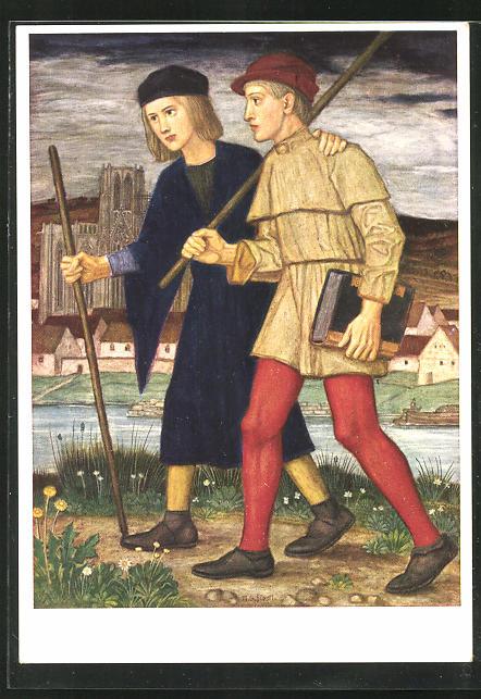 Künstler-AK Matthäus Schiestl: Zwei Wanderer am Fluss