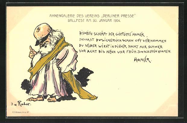 Künstler-AK Max Rabes: schlafender göttlicher Homer, Ballfest 1904 der Ahnengalerie