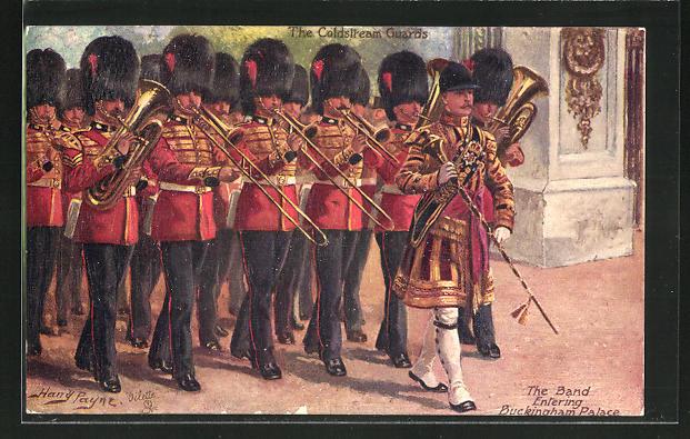 Künstler-AK Harry Payne: the Band entering Buckingham Palace