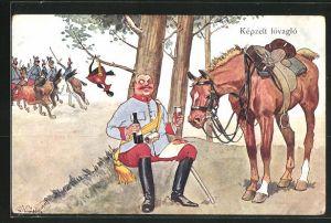 Künstler-AK Fritz Schönpflug: Kepzelt lovaglo, Soldat macht Rast unterm Baum