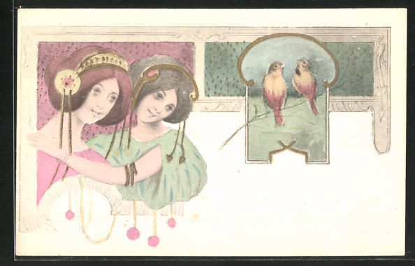 Künstler-AK B. Patella: zwei hübsche Geishas und zwei Vögel auf einem Zweig