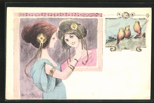 Künstler-AK B. Patella: hübsche Geishas mit Haarschmuck und Vögel auf einem Zweig sitzend