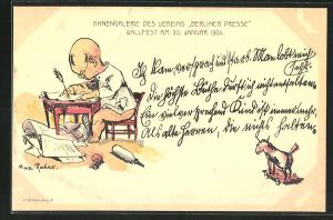 Künstler-AK Max Rabes: Mann sitzt mit Schreibfeder am Tisch, Ahnengalerie